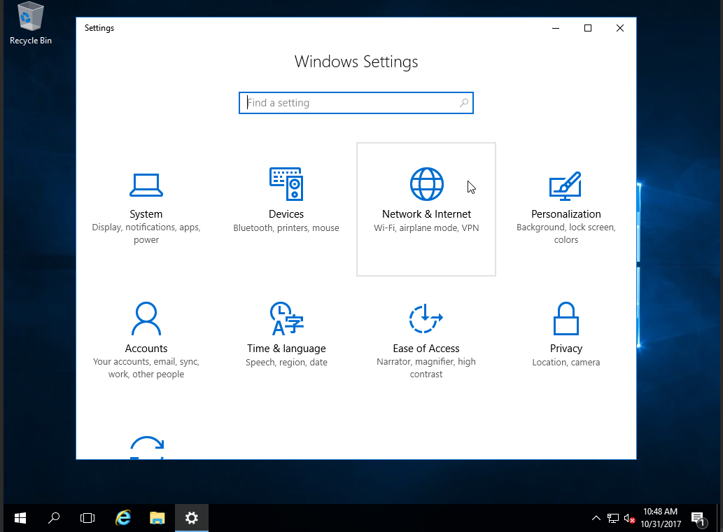 Windows Server 2016 - Settings