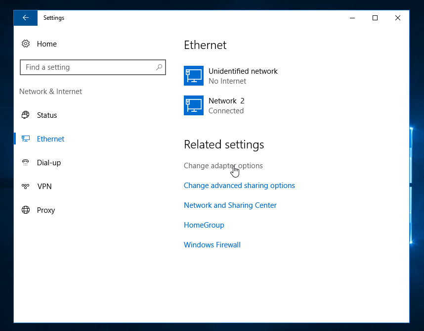 Windows Server 2016 - Adapter Options