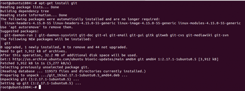 Install Git using apt-get install command.