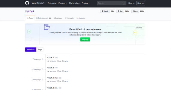 Git official release page.
